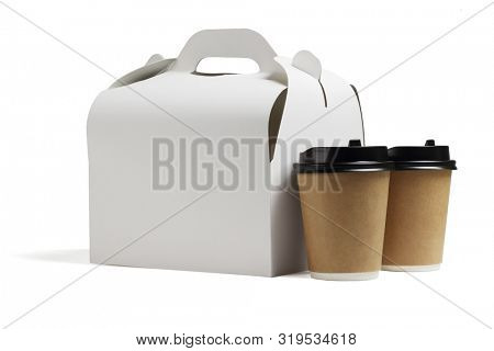 Two Coffee Cups and a Lunch Box on White Background