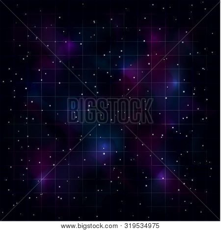 Retrowave Synthwave Vaporwave Background With Laser Grid, Starry Spase And Blue Purple Nebula. Eps 1