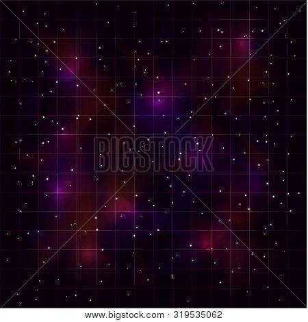 Retrowave Synthwave Vaporwave Background With Laser Grid, Starry Spase And Blue Red Nebula. Eps 10