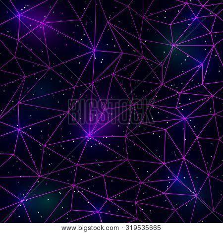 Retrowave Synthwave Vaporwave Illustration Of Polygonal Pink Lines Grid On Starry Nebula Space Backg