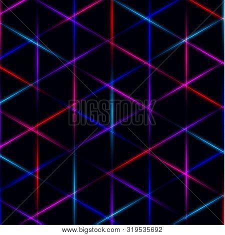 Neon Triangle Vivid Laser Grid On Dark Background. Eps 10