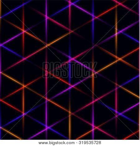 Neon Triangle Blue, Pink, Orange And Red Laser Grid On Dark Background. Eps 10
