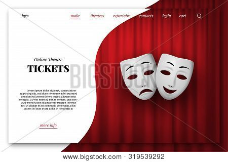 Online Theatre Tickets Vector Landing Page Template. Comedy And Tragedy Theatrical Mask Isolated On