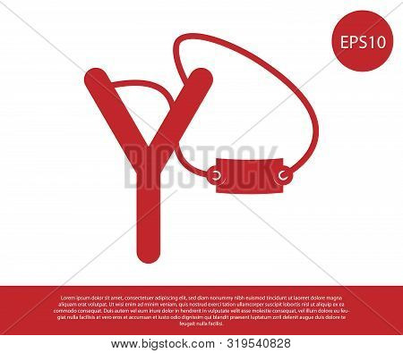 Red Slingshot Icon Isolated On White Background. Vector Illustration