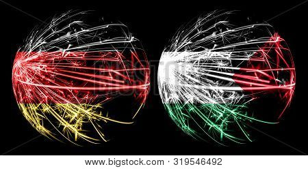 Abstract Germany, German, Jordan, Jordanian Sparkling Flags, Sport Ball Game Concept Isolated On Bla