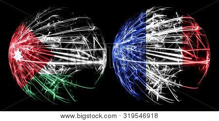 Abstract Jordan, Jordanian, France, French Sparkling Flags, Sport Ball Game Concept Isolated On Blac