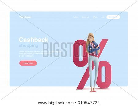Young Business Woman Emma Standing With Big Percent Sign On A Blue Background. 3d Illustration. Web