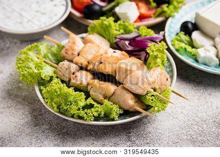 Traditional Greek Chicken Skewers Souvlaki With Tzatziki Sauce