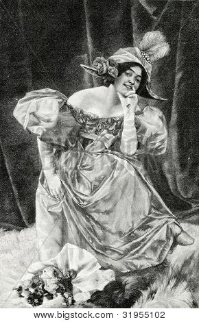 Pierrette. Engraving by Ierike from picture by  Lewis. Published in magazine