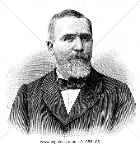 Emile Loube, President of the French Republic. Engraving by  Shyubler. Published in magazine