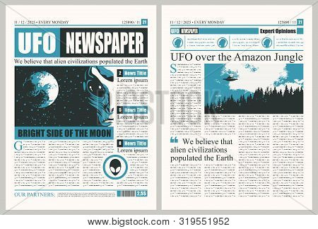 Vector Template For The Layout Of The Newspaper On The Subject Of Ufos. Newspaper Columns With Unrea