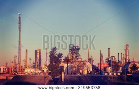 Metal Pipelines Petrochemical Industry. Disgusting Production Pollutes The Environment