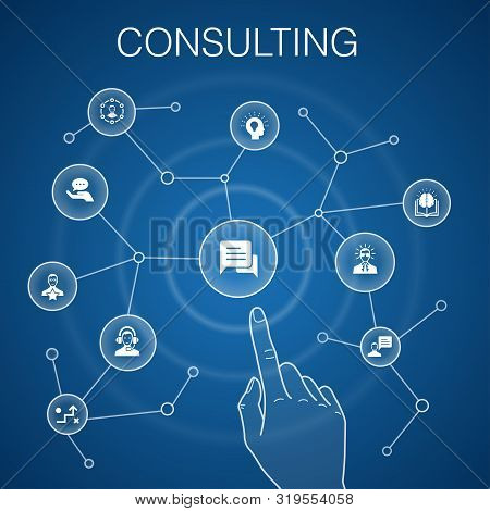 Consulting Concept Blue Background. Expert, Knowledge, Experience, Consultant Icons