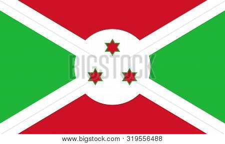 Flag Of Burundi Vector Illustration, Worlds Flags Collection
