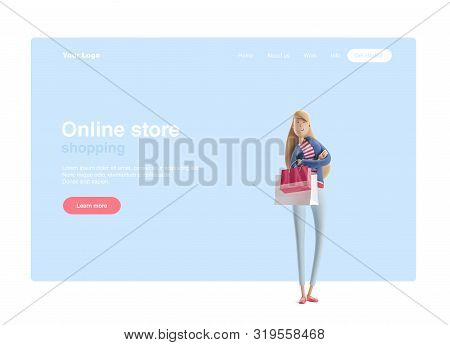 Young Business Woman Emma Standing With Bags From Stores On A Blue Background. 3d Illustration. Web