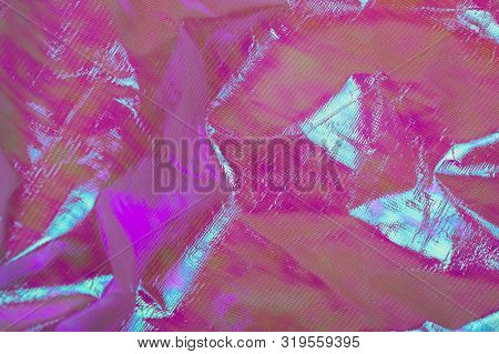 Bright Holographic Foil Background. Multicolor Trendy Backdrop.