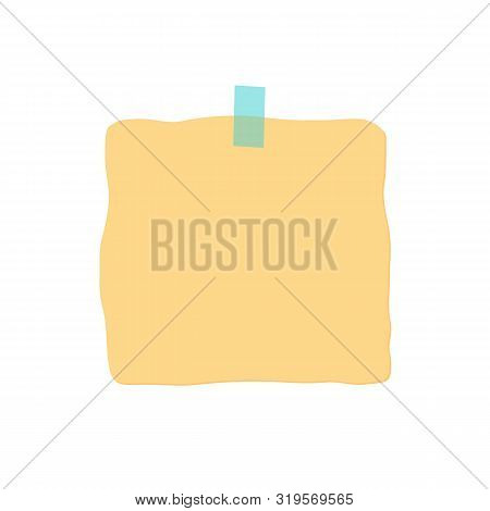 Glued sticker to the surface. Office yellow paper sticky note isolated on light background. Template, ready for your message business design, vector illustration. Eps10. poster