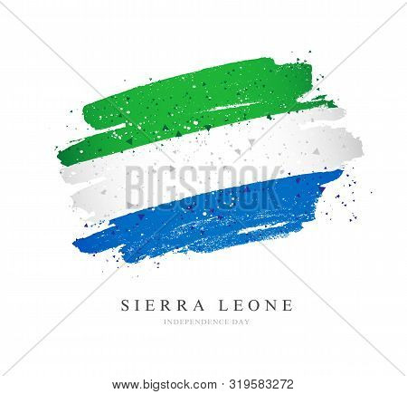 Flag Of Sierra Leone. Vector Illustration On A White Background. Brush Strokes Are Drawn By Hand. In