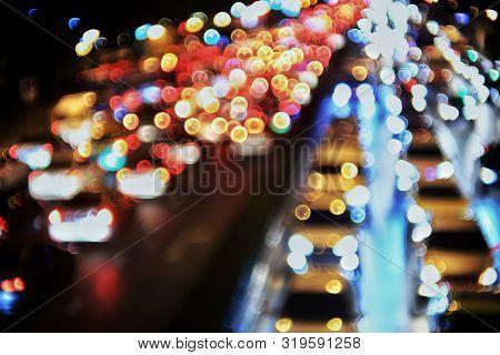 Heavy Traffic Congestion In The City. Car Headlights And Rear Lights Defocused. Road Light Bokeh. Vi