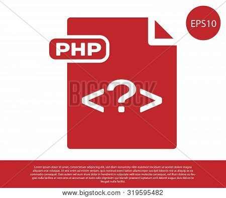 Red Php File Document. Download Php Button Icon Isolated On White Background. Php File Symbol. Vecto