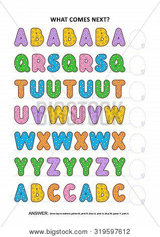 Basic Skills Practice Logic Game With Alphabet Letters. Training Sequential Pattern Recognition Skil