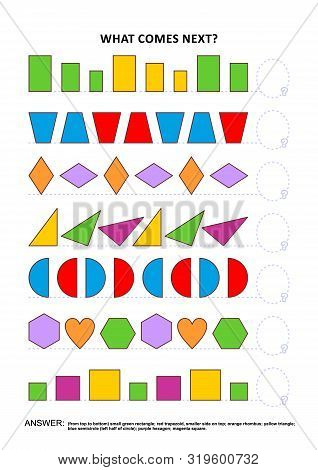 Shapes And Colors Educational Math And Logic Game. Training Sequential Pattern Recognition Skills: W
