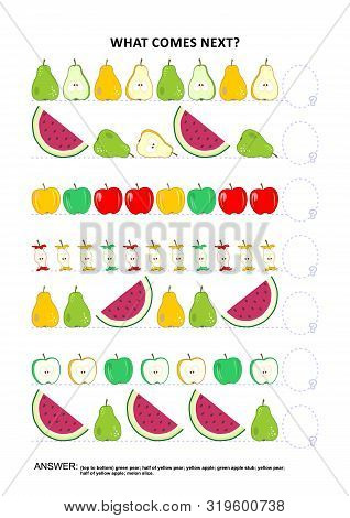 Fruit and berry themed educational logic game training sequential pattern recognition skills: What comes next in the sequence? Answer included. poster