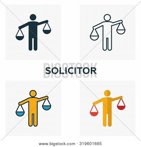 Solicitor Icon Set. Four Elements In Diferent Styles From Business Management Icons Collection. Crea