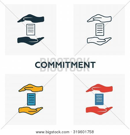Commitment Icon Set. Four Elements In Diferent Styles From Business Management Icons Collection. Cre