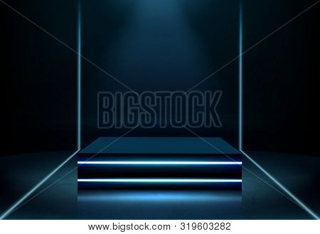 Rectangular Performance Stage In Nightclub, Fashion Show Podium, Platform For Product Presentation I