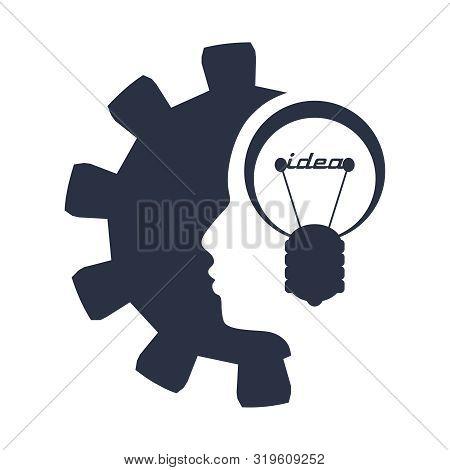 Lamp In The Head Of A Person. Lamp Head Businessman. Illustration Of Brainwork, Idea Appearance. Swi