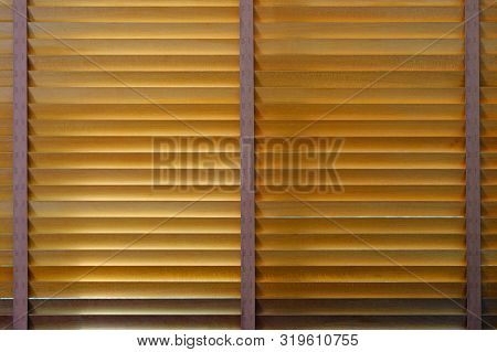 Closing Wooden Bamboo Blind, Front Face And Symmetry
