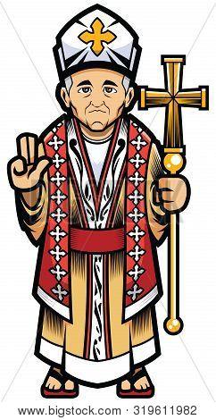Pope, Bishop Or Catholic Cardinal Mascot Over White Background.