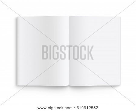 Blank Opened Book, Magazine And Notebook Template With Soft Shadows. Front View. - Stock Vector.