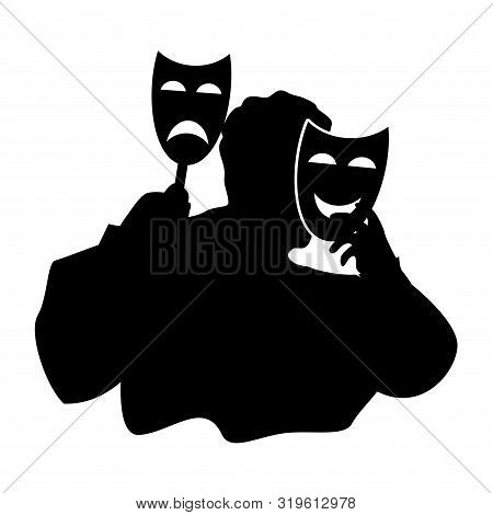 Black and white silhouette of a man trying on a funny and sad theatrical mask. The concept of duplicity, hypocrisy and hiding behind masks in modern society, vector clipart poster