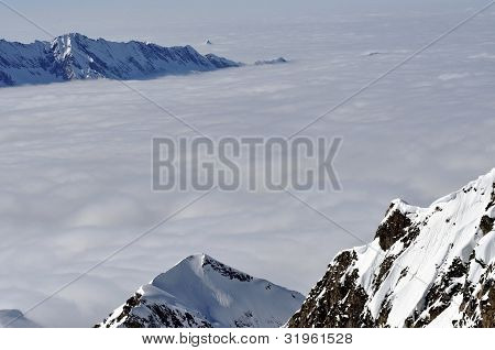 Winter View From Kitzsteinhorn Peak Ski Resort, Austrian Alps