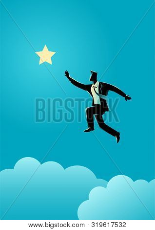 Silhouette Illustration Of A Businessman Jumps To Reach Out For The Star, For Aspiration, Motivation