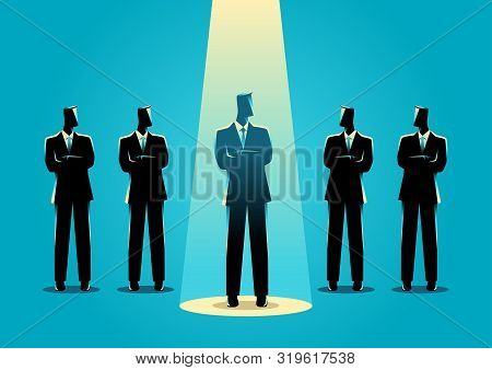 Silhouette Illustration Of A Businessman Being Spotlighted Among Other Businessmen. Stand Out From T