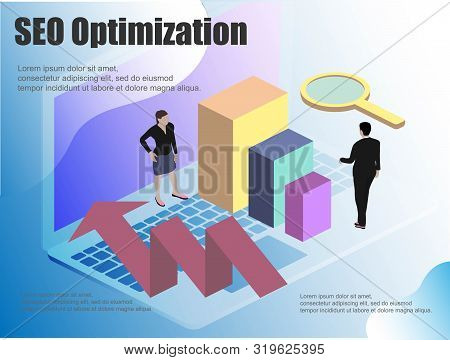 Flat Illustration With Isometric. Computer Monitor Icon Vector Illustration. Concept Seo Business Ve