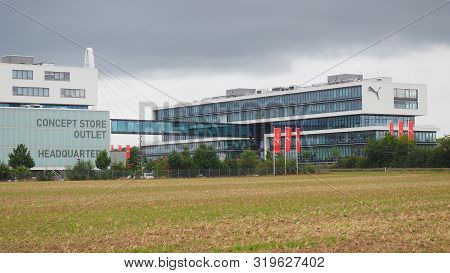 Herzogenaurach, Germany - August 19, 2019:  Headquarter Of Global Sports Brand In The Village Of Her