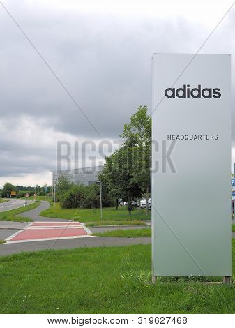 Herzogenaurach, Germany - August 19, 2019:  Headquarter Sign Of Global Sports Brand In The Village O