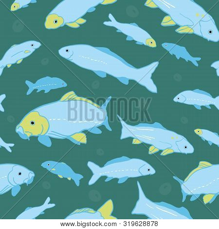 Wavy Sealife Goldfish Koi Seamless Pattern. With Air Bubble And Fish In Tones Of Blue And Green. Mod