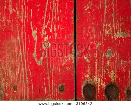 Wood With Chipped Red Paint. Grunge Style