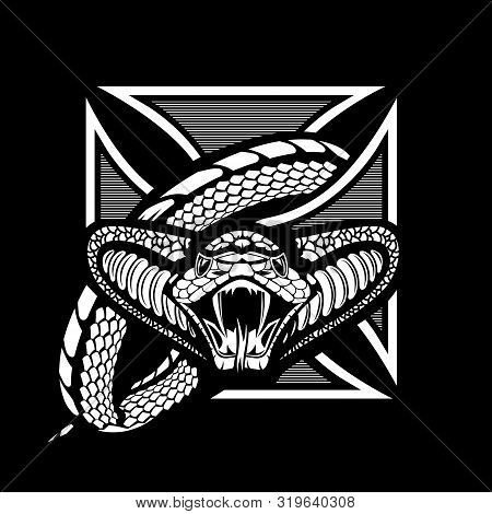 Snake Wrapped Knights Cross, One-color Vector Template