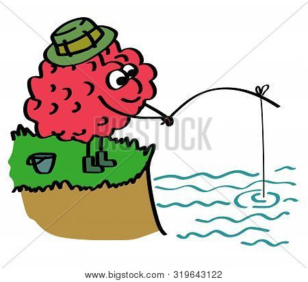 The Brain Is Fishing Standing On The Shore. Patience. Vector Illustration.