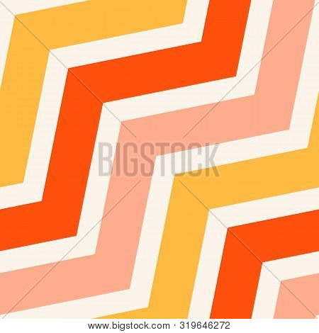 Simple Vector Seamless Pattern With Diagonal Stripes, Lines, Chevron, Zigzag. Yellow, Pink And Orang