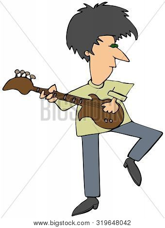 Illustration Of A Guy Rocking Out Playing A Bass Guitar.