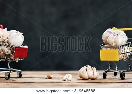 Garlic Cloves and Bulb. Thai herb and ingredient for food cooking Thai food. poster