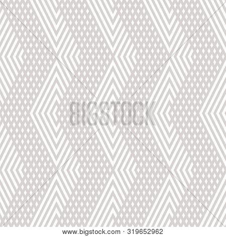 Vector Geometric Lines Seamless Pattern. Modern Linear Texture With Diagonal Stripes, Chevron, Zigza