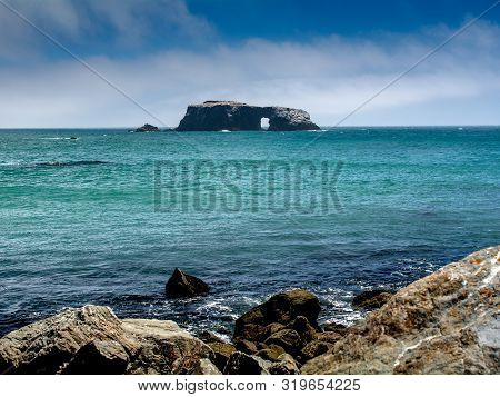 Panoramic View Of The Pacific Coast From Goat Rock Beach, Featuring Arched Rock At Sonoma Coast, Cal